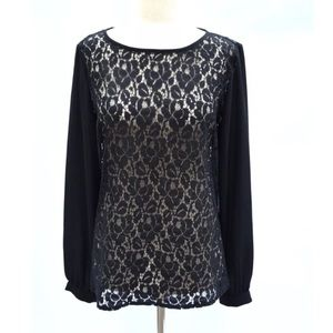 Banana republic blouse top black lace sheer sl 8